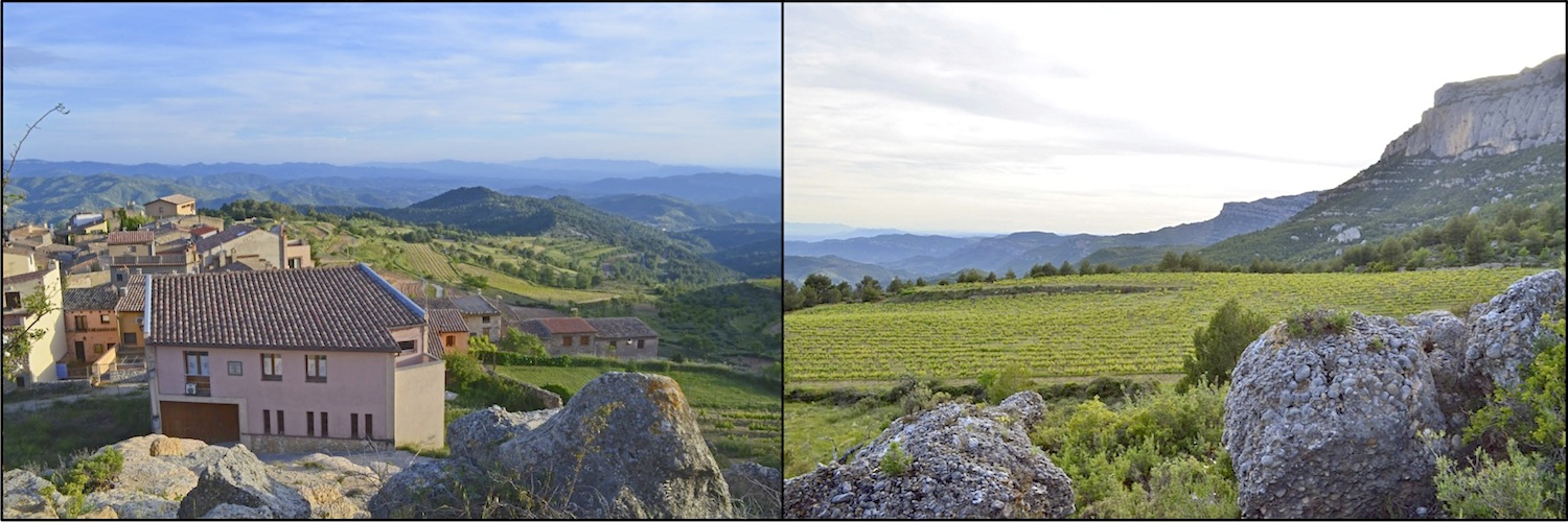 Left: Celler Pasanau overlooking La Morera de Montsant and the entire Priorat. Right: Finca la Planeta and the Sierra de Montsant.